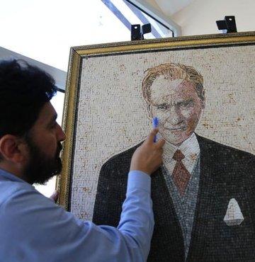 Suriyeli sanatçıdan Atatürk portresi
