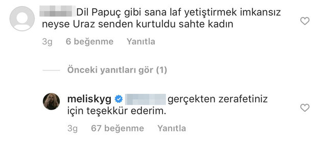 """Melis Kaygılaroğlu'ndan """"Uraz senden kurtuldu sahte kadın!"""" yorumuna yanıt - Instagram Magazin haberleri"""