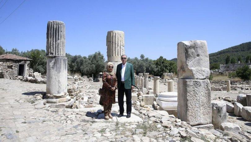 Cumhurbaşkanı Erdoğan, Stratonikeia Antik Kenti'ni gezdi