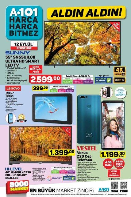 A101 12 Eylül 2019 Aktüel ürünler kataloğu! A101'de uygun fiyata cep telefonu ve televizyon