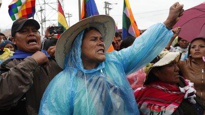 Bolivya'da Morales taraftarları yeni başkan Jeanine Anez'i istifaya çağırmak için gösteri düzenledi