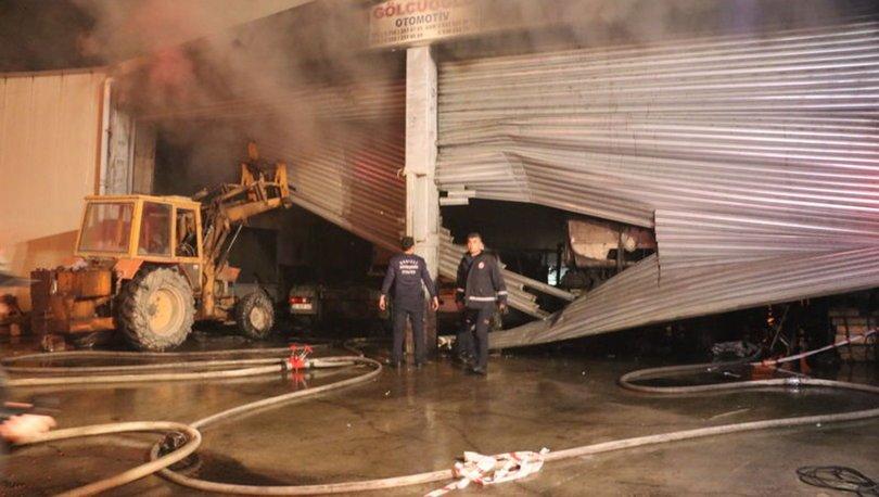 Denizli'de tamirhane yangını! 13 araç kullanılamaz hale geldi