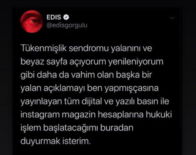 Edis 'tükenmişlik sendromu' iddiaları yalanladı - Magazin haberleri