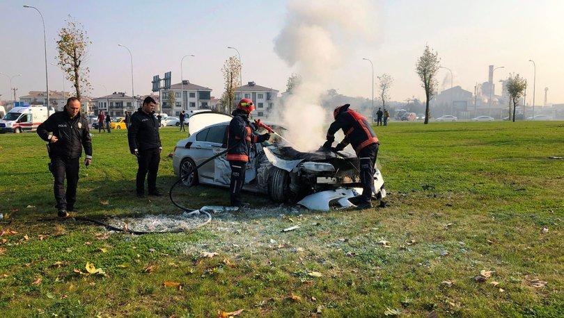 Otomobil takla atıp alev aldı: 2'si̇ çocuk 3 yaralı