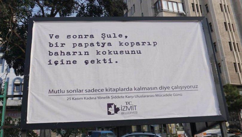 İzmit'te katledilen kadınlarla ilgili seçkilerden oluşan afişler asıldı