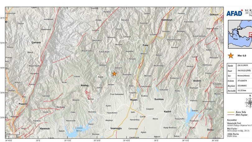 Son dakika deprem: Adana'da korkutan 3.6 büyüklüğünde deprem