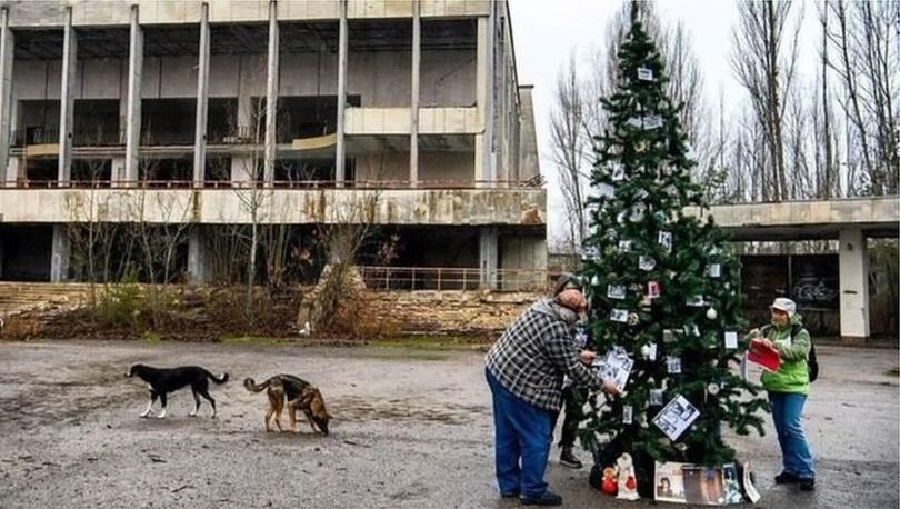Çernobil: 'Hayalet kasaba'da ilk Noel ağacı