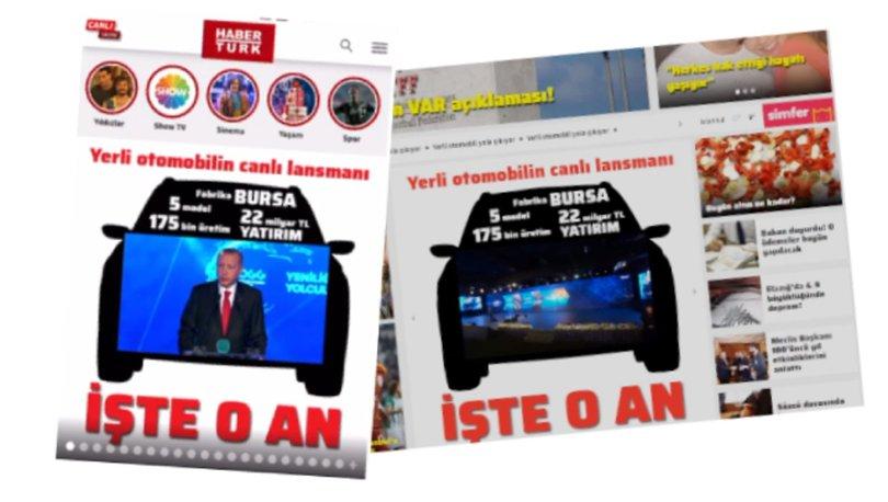 Yerli otomobil habertürk canlı yayını özel sayfa tasarımında