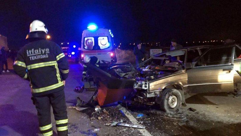Tekirdağ'da otomobil tırla çarpıştı: 6 yaralı