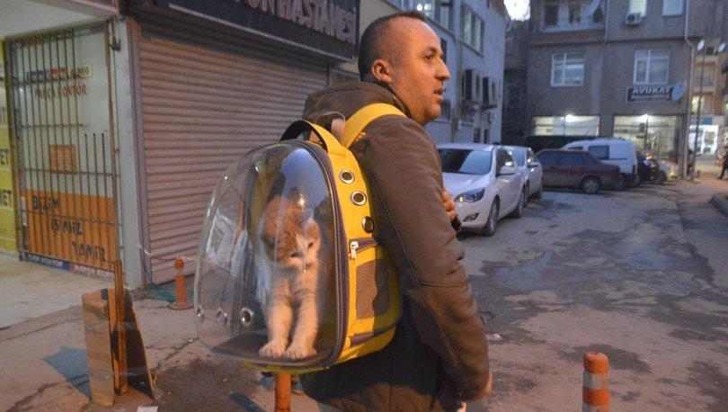 Sahiplendiği kediyi çantada gezdiriyor