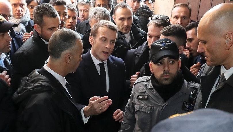 Fransa Cumhurbaşkanı Macron, Kudüs'teki Osmanlı hediyesi Fransız kilisesi önünde İsrailli güvenlik güçleriyle tartıştı