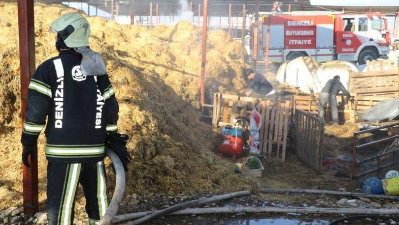 Denizli'de besihane'de çıkan yangında 20 bin TL'lik saman kül oldu