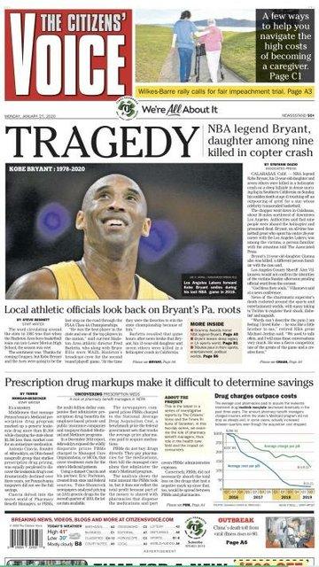 Dünyada Kobe Bryant manşetleri