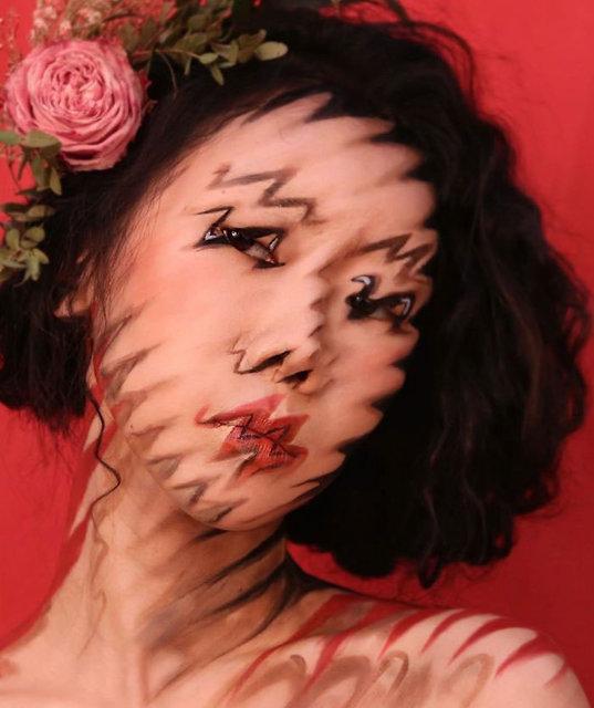 Görünmez kadın makyajla optik illüzyon yaratıyor!