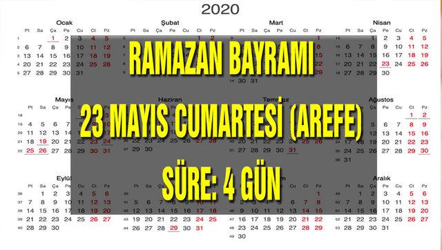 Resmi tatiller ne zaman 2020! Ramazan Bayramı ve Kurban Bayramı tarihleri açıklandı! İşte tatil takvimi