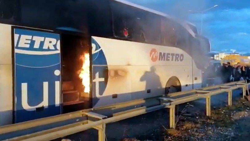 SON DAKİKA faciadan dönüldü! Yolcu otobüsü alev alev yandı