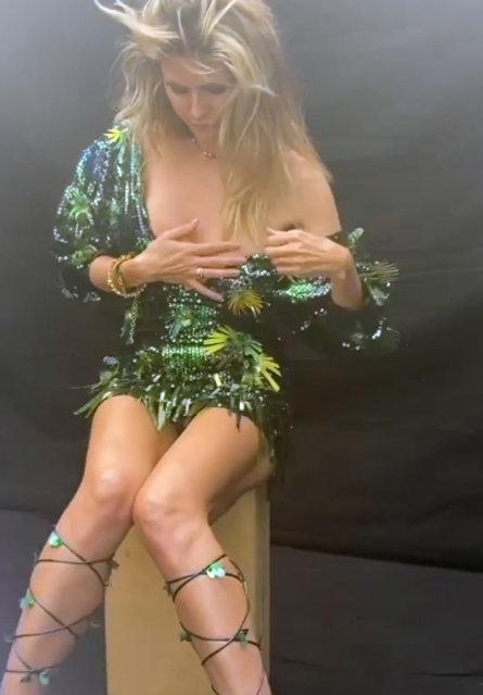 Heidi Klum'un kamera arkası görüntüleri olay oldu
