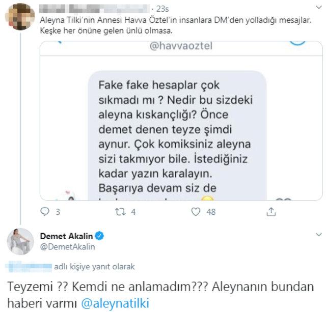 Demet Akalın'dan Aleyna Tilki'nin annesi Havva Öztel'e 'teyze' çıkışı - Magazin haberleri