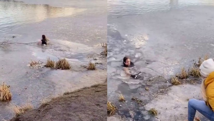 Donmuş gölete atladı... Rus kadın fenomen oldu