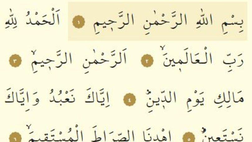 Fatiha suresi hakkında bilgiler, Fatiha suresi Arapça ve Türkçe okunuşu...