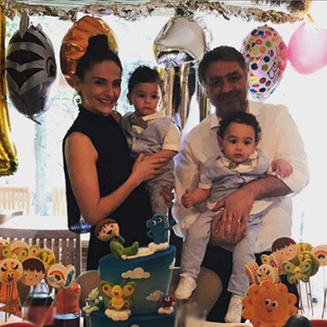 Mustafa-Sinem Uslu çiftinin ikiz bebekleri Mustafa ve Kemal bir yaşında - Magazin haberleri
