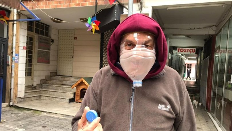 Esnaf koronavirüse karşı pet şişeden maske yaptı
