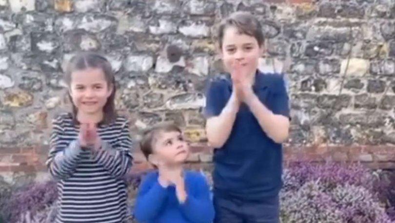 Kate Middleton ile Prens William'ın çocukları sağlık çalışanlarını alkışladı