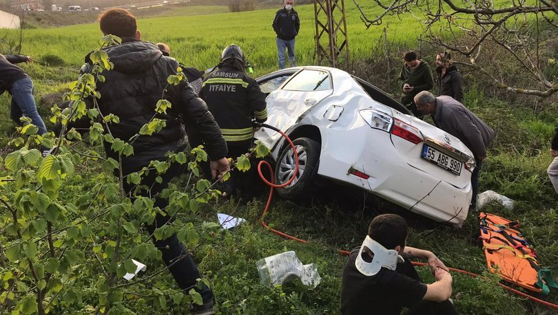 Son dakika haberler... Samsun'da otomobil bahçeye devrildi: 3 yaralı!