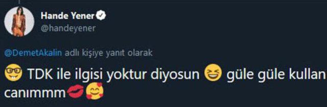 Hande Yener'den Demet Akalın'a TDK (Türk Dil Kurumu) göndermesi - Magazin haberleri