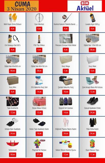 BİM 3 Nisan 2020 Aktüel ürünler kataloğu! BİM indirimli ürünler tam listesi