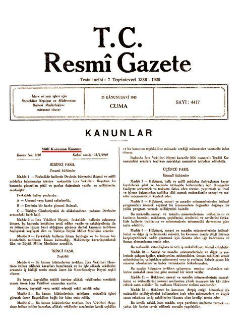 Meclis'in 18 Ocak 1940'ta kabul ettiği Millî Korunma Kanunu, Resmî Gazete'de 26 Ocak 1940'da yayınlanmıştı.
