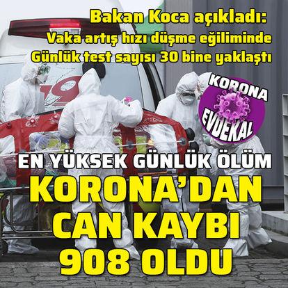 Korona'dan can kaybı 908'e yükseldi