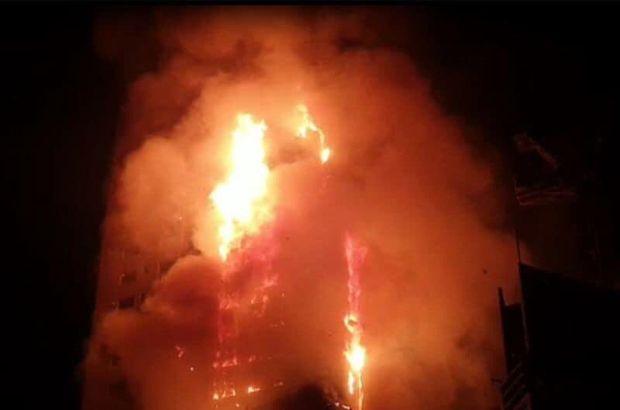 BAE'de 190 metre yüksekliğindeki gökdelende yangın!