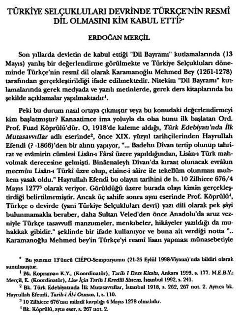 Prof. Dr. Erdoğan Merçil'in 2000'de yayınladığı makale.