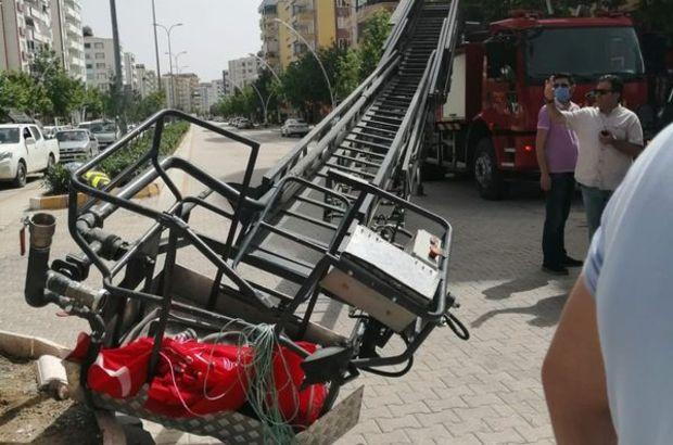 İtfaiye aracının merdiven bağlantısı koptu!
