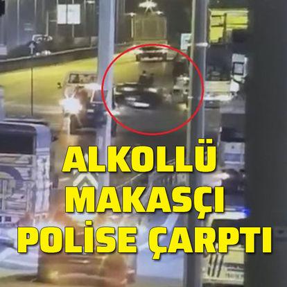 Alkollü makasçı polise çarpıp kaçtı
