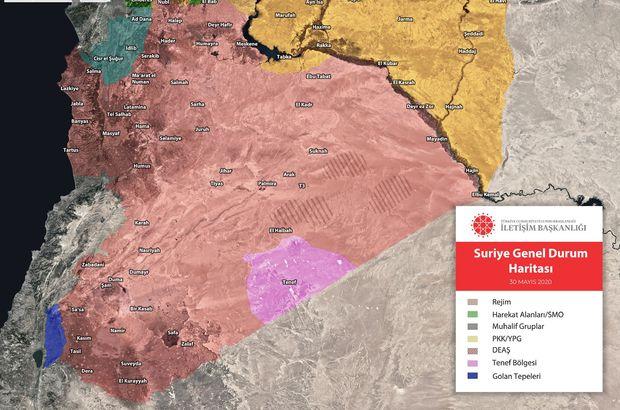 Suriye'deki son durumu gösteren harita
