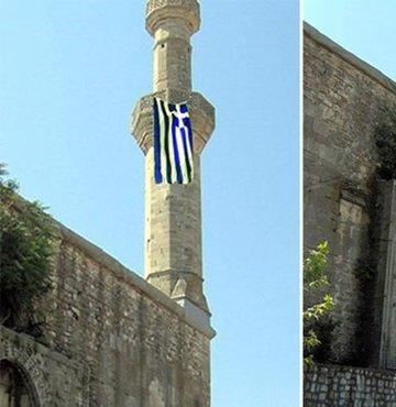 Yunanistan'ın Edirne sınırında bulunan Dimetoka kentinde ibadete kapalı bulunan tarihi Çelebi Mehmet Camii'nin minaresine Yunanistan bayrağı asıldı. Bayrak, fark edilmesinin ardından belediye tarafından indirildi.