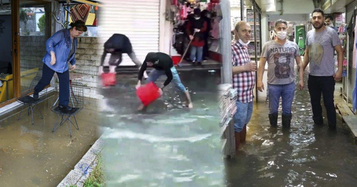 Bazı iş yerlerini su bastı