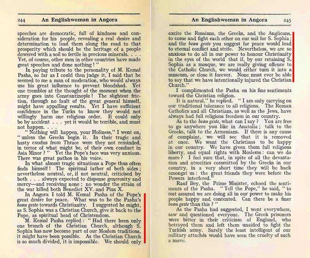 """Mustafa Kemal Paşa'nın Ayasofya hakkındaki düşünceleri, Grace Ellison'un 1923'te yayınladığı """"An Englishwoman in Ankara"""" (Ankara'da bir İngiliz Kadın) isimli kitabın 244-245. sayfalarında yeralır."""