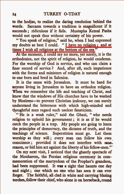 """Grace Ellison'un 1928'de çıkardığı """"Turkey To-day"""" (Bugünkü Türkiye) isimli kitabının 24. sayfasında, Mustafa Kemal Paşa'nın dinlerle alâkalı görüşlerinin yeraldığı bahsin girişi."""