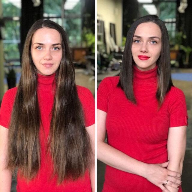 Saçlarını kestirenlerin öncesi-sonrası fotoğraflarını paylaştı