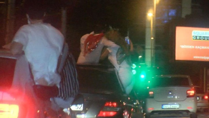 Şişli'de asker uğrulama konvoyunda tehlikeli anlar