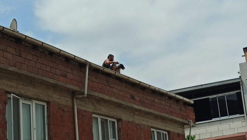 Son dakika haberler... Çatıda kâbus! Bir kadın ve köpeğini rehin aldı!