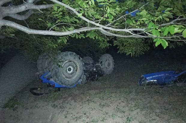 Çorum'da traktör şarampole devrildi