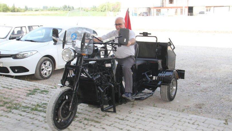 Emekli Abdullah amcanın üç tekerli 'motor limuzini' ilgi çekiyor
