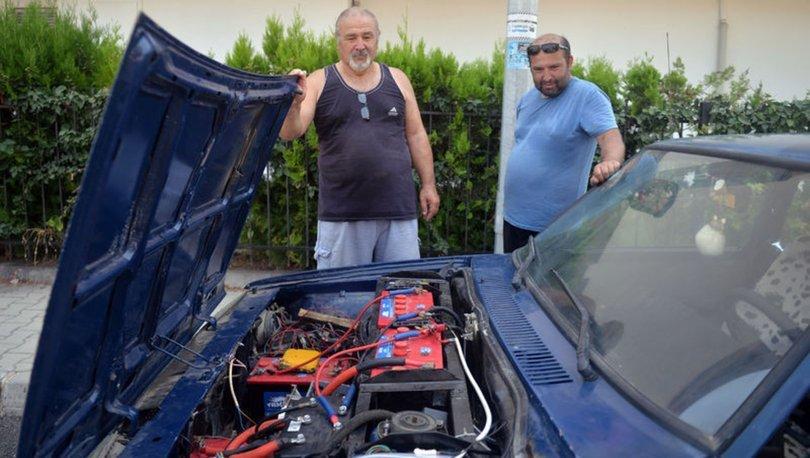 Baba ile oğlu 27 yaşındaki otomobili elektrikli araca dönüştürdü
