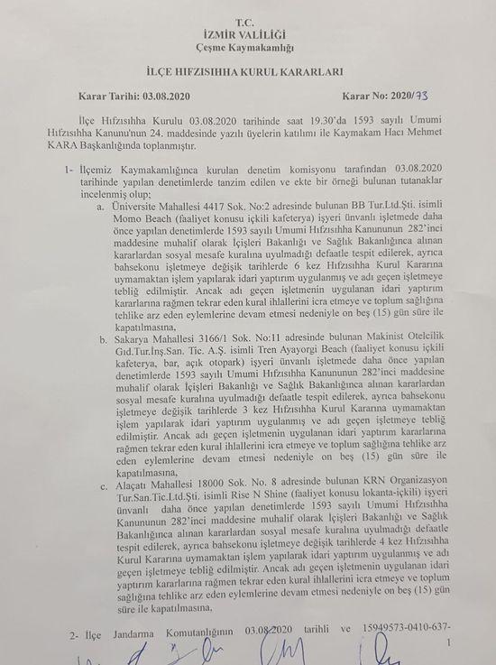 Çeşme Kaymakamlığı, 6 ünlü mekana 15 gün kapama cezası verdi