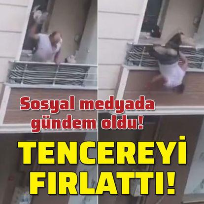Sosyal medyada gündem oldu! Tencereyi atarken balkondan düştü!