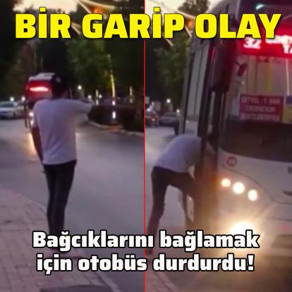 Bağcıklarını bağlamak için otobüs durdurdu!